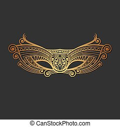 Carnaval Mardi Gras Gold Mask. Vector illustration