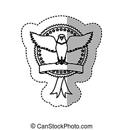 sticker monochrome contour with eagle with open wings in round frame with ribbon