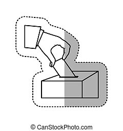 monochrome silhouette sticker with vote in hand and urn...