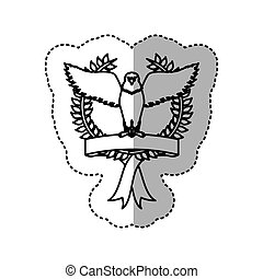 sticker monochrome contour with eagle with open wings in olive crown with ribbon