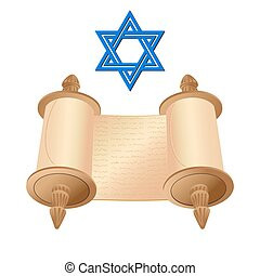 Old scroll with star of David - Vector illustration old...