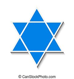 Star of David with a shadow. Isolated on white background....