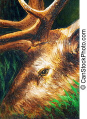 oil painting detail of deer head with antlers. - oil...