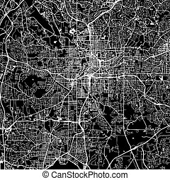 Atlanta Vector Map, Artprint. Black Landmass, White Water...