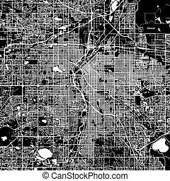 Denver Vector Map, Artprint. Black Landmass, White Water and...