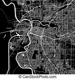 Sacramento, California, Vector Map, Artprint. Black...