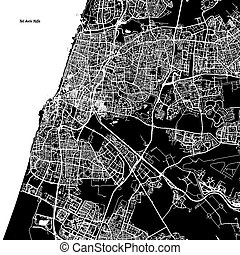 Tel Aviv-Yafo Vector Map, Artprint. Black Landmass, White...