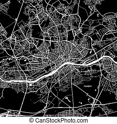 Frankfurt Vector Map, Artprint. Black Landmass, White Water...