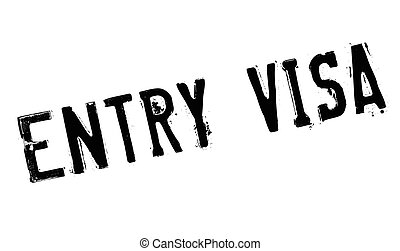 Entry Visa rubber stamp. Grunge design with dust scratches....