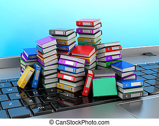 Many colorful folders stacked in a row on a laptop. Ring binders. 3D illustration.