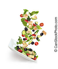 salad ingredients on a white background