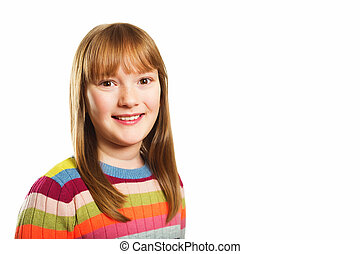 Studio shot of young little 9-10 year old girl, wearing...
