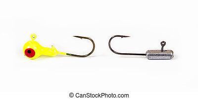 Metal bait hooks - Fishing hooks isolated on white. Metal...