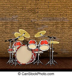 Old brick wall and wooden floor and drum kit - Drum kit on...