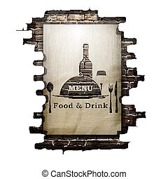 Template restaurant menu covers, wall paper and stencil