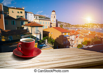 background with cup of coffee in europe