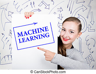 Young woman holding whiteboard with writing word: machine learning. Technology, internet, business and marketing.