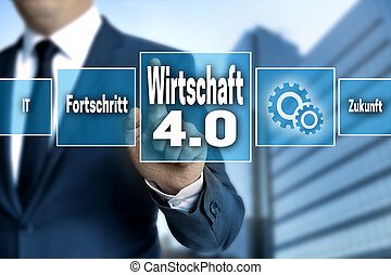 Wirtschaft 4.0 (in german economy) touchscreen is operated...