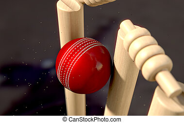 Cricket Ball Hitting Wickets - A close up of a red leather...