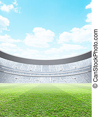 Floodlit Stadium Day - A generic seated stadium with a green...