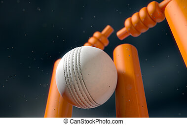 Cricket Ball Hitting Wickets - A close up of a white leather...