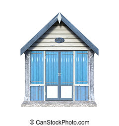 3D Rendering Beach Hut on White - 3D rendering of a beach...