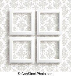 4 Frames Ornaments Wallpaper - White frames on the wallpaper...
