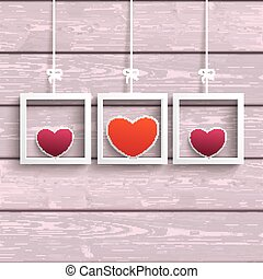 Frames 3 Colored Hearts Pink Wood