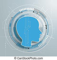 Futuristic Human Head Circuit Board