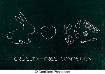 bunny next to make-up with heart icon, cruelty-free...
