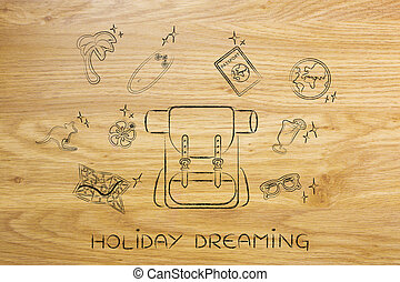 holiday planning, backpack & travel icons