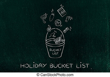 holiday planning, bucket list & travel icons