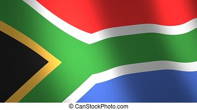 Flag South Africa moving wind - Flag of South Africa with...