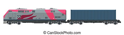 Cargo Train Isolated - Locomotive with Cargo Container on...