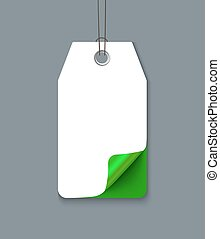 Price sticker on the grey background. Realistic vector paper...