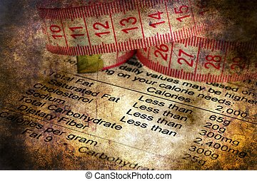 Nutrition facts and measure tape grunge concept