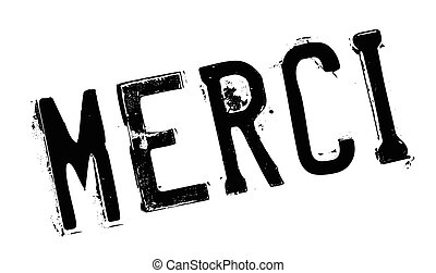 Merci rubber stamp. Grunge design with dust scratches....