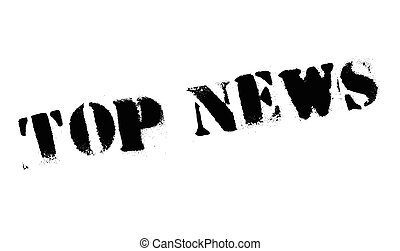 Top News rubber stamp. Grunge design with dust scratches....