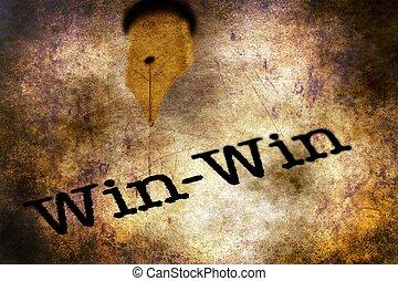 Fountain pen on win text