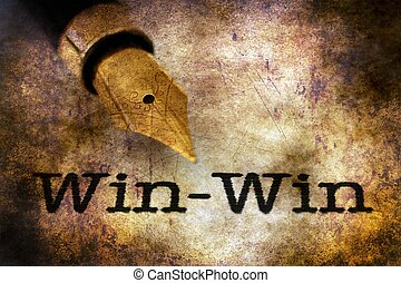 Win win text and fountain pen