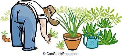 Person Gardening - Vector illustration of a large person,...
