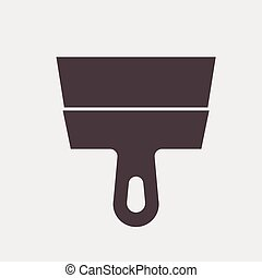 putty knife tool icon on a gray background Vector...
