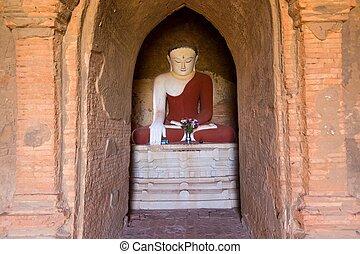pintado,  Buddha, rojo