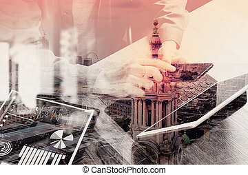 double exposure of businessman hand using smart phone,mobile...
