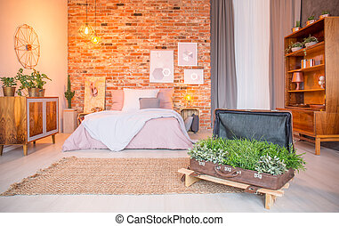 Room with suitcase flower pot - Room with bed and creative...