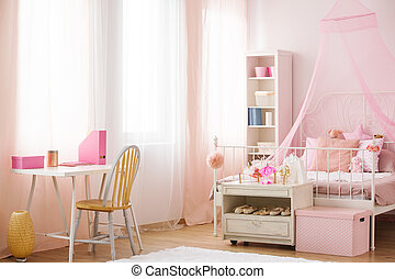 Child bedroom with canopy bed - Child bedroom with pink...