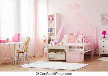 Girl bedroom with canopy bed - Girl bedroom with pink canopy...