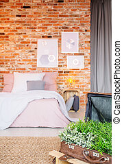 Bedroom with suitcase flower pot - Industrial bedroom with...