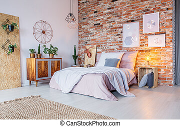 Bright bedroom with brick wall - Bright bedroom with double...