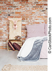 Bedroom with crate nightstand - Modern bedroom with crate...